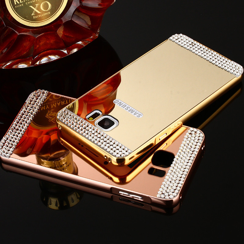 For Samsung Galaxy A3 A5 A7 J3 J5 J7 2016 S6 S7 Edge Metal Aluminum Bumper Bling Diamond Mirror Back Cover 2 in 1 For Samsung J3