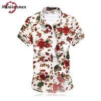 Men Shirt Short Sleeve Casual Hawaiian Shirt Mens Floral Print Shirt Camisa Slim Fit Camisas Hombre