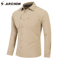 S ARCHON Casual Urban Quick Dry Breathable Military Shirt Rip Stop UPF40 Lightweight Tactical Shirts Men