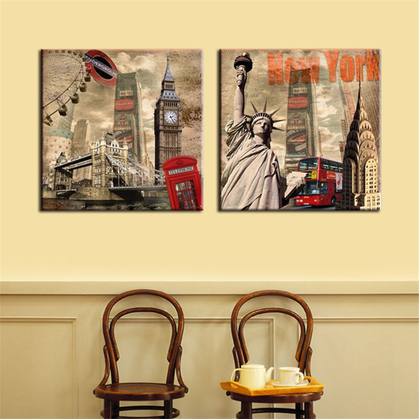 Famous Building Canvas Printing On Canvas Home Decoration Modern ...