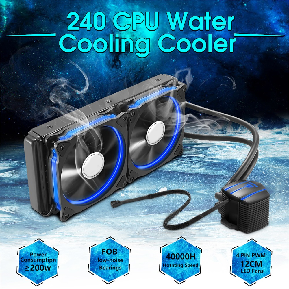 240 CPU Liquid Water Cooling System Processor Water Cooler Aluminium Cooling Radiator Double PWM 120mm LED Cooling Fan PC Case water cooler radiator for computer cpu water cooling with led ring 4pin 120mm pwm fan and aluminum heatsink liquid cooling