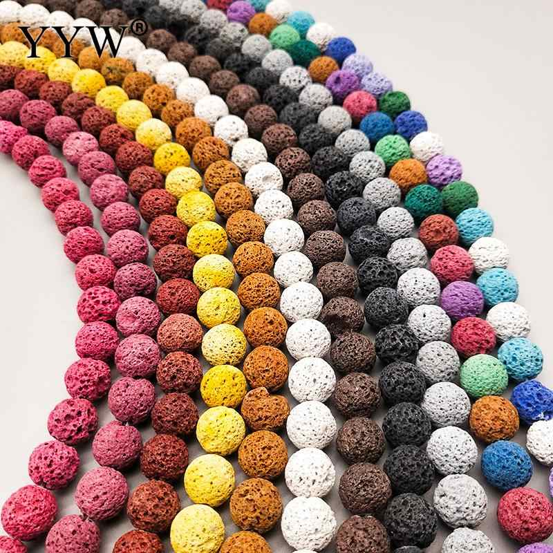 6 8 10mm Multicolor Optional Colourful Lava Beads Volcanic Rock  Stone Beads Loose Spacer Beads For DIY Bracelet Jewelry Making