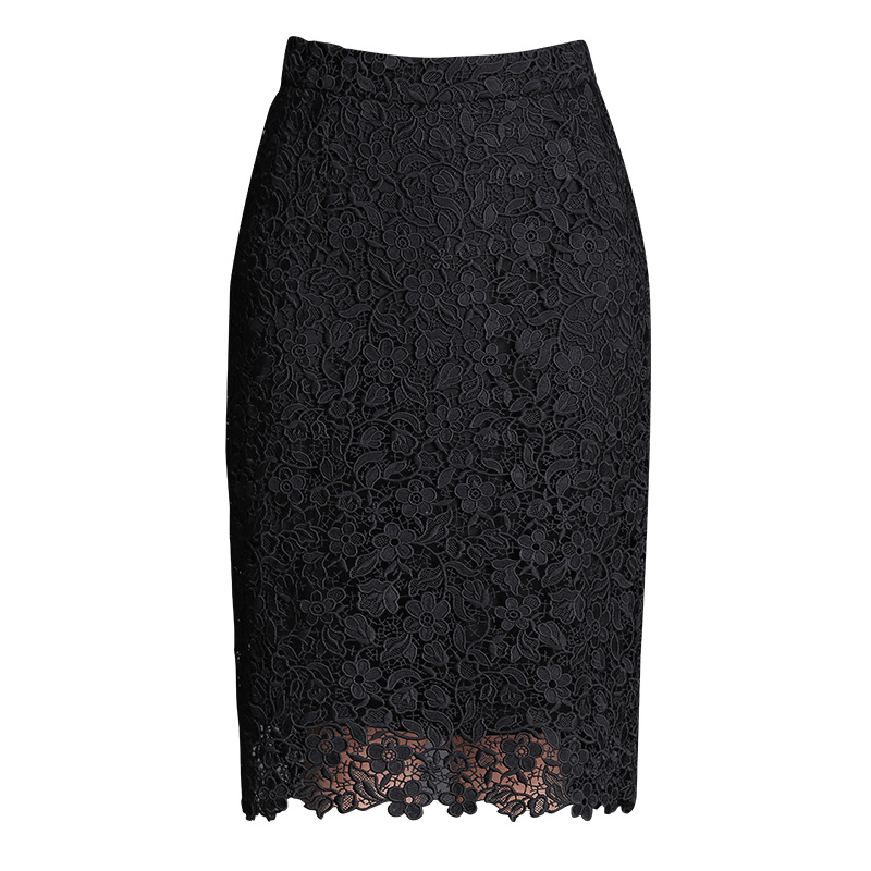 Spring Summer 2019 Woman High Waist Lace Pencil Skirt Korean Style Black Slim Fit Bodycon Midi Skirt Elegant Office Lady Skirt in Skirts from Women 39 s Clothing