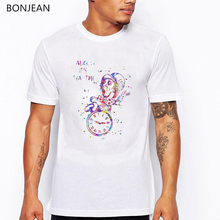2019 summer whatercolor funny t shirt men Mad Hatter Tea Party tee homme Its tea time letter print t-shirt white tshirt