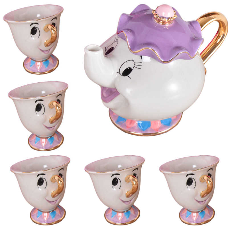 Cartoon Schoonheid En Het Beest Thee Set Mrs Potts Chip Cup Set Suiker Kom Mok [1 Pot + 5 cups] Kind Gift