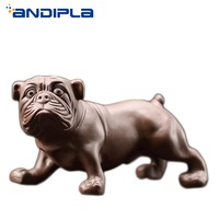 Boutique Yixing Zisha Tea Pet Handmade Bulldog Figurine Tea Tray Bonsai Ornaments Kung Fu Tea Set Accessories Home Decor Crafts