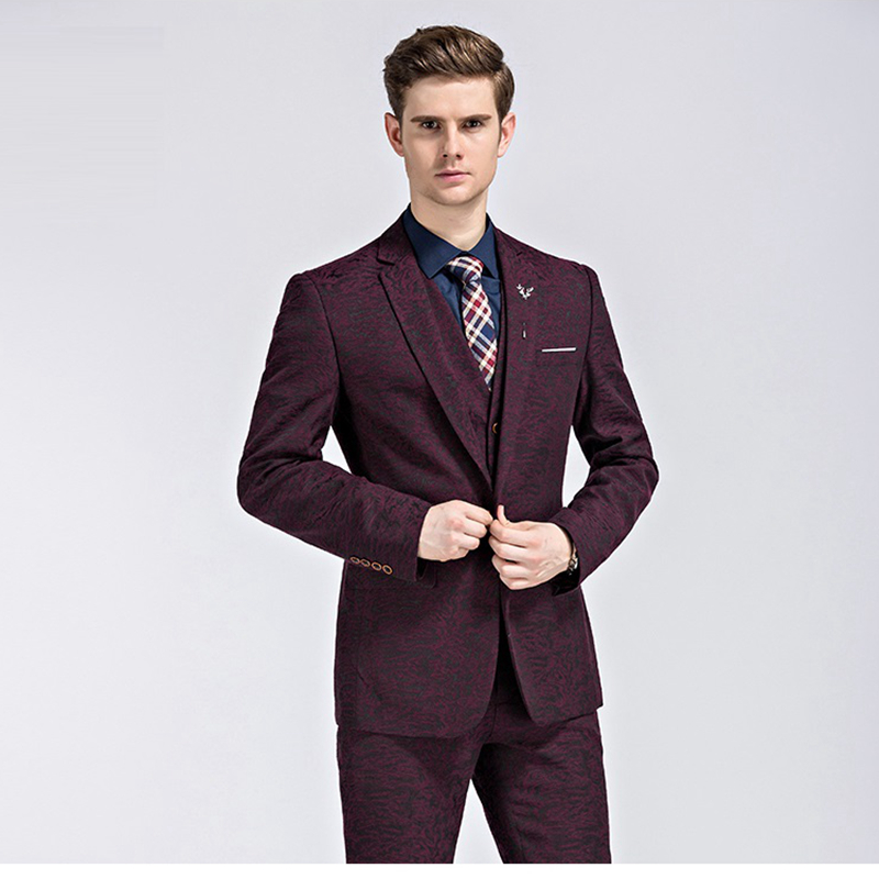 Aliexpress.com : Buy Burgundy Men Suit Printed Floral Patterns ...