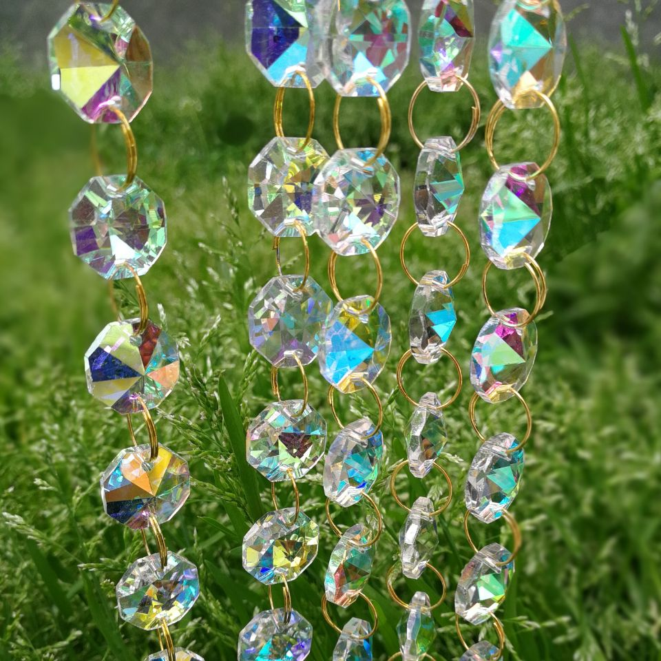 50meters 14mm Coating AB Octagon beads glass crystals for wedding decoration pendant
