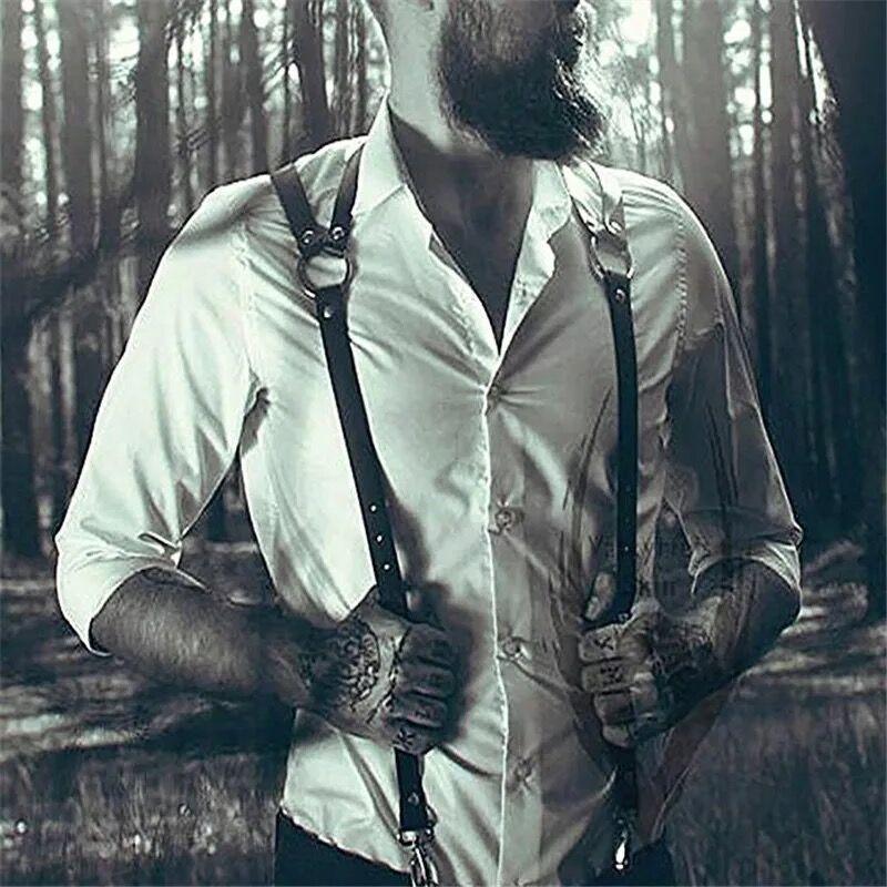 Mens PU Leather Harness Men Punk Adjustable Body Chest Half Harness Suspenders Belt Men Strap Fetish Cosplay Costumes