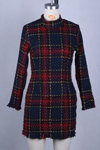New Autumn and Winter Fashion Plaid Simple Long-sleeved Slim Ladies Dress In Europe America Party