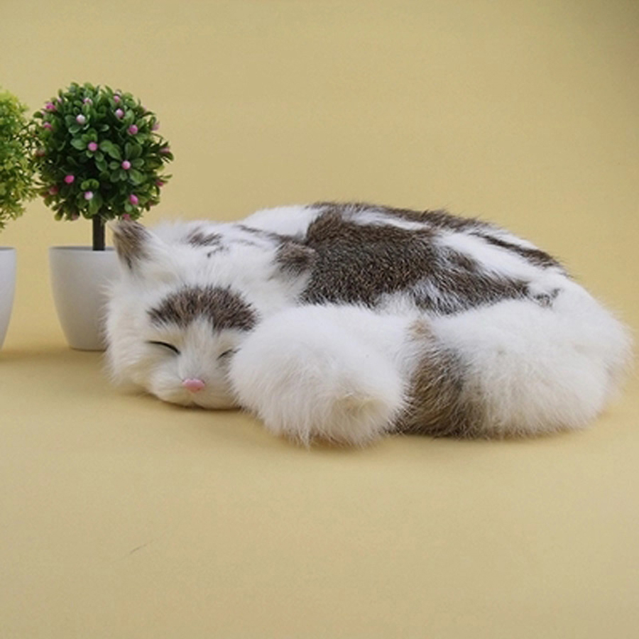Cute Simulation Animal Doll Plush Sleeping Cats Soft Toy Gato Kawaii Birthday Gift Animais Brinquedo Small Baby Dolls 50G0241 4 colors pusheen plush cute soft animal toy giraffe plush doll birthday gift toys for children 18cm baby dolls free shipping
