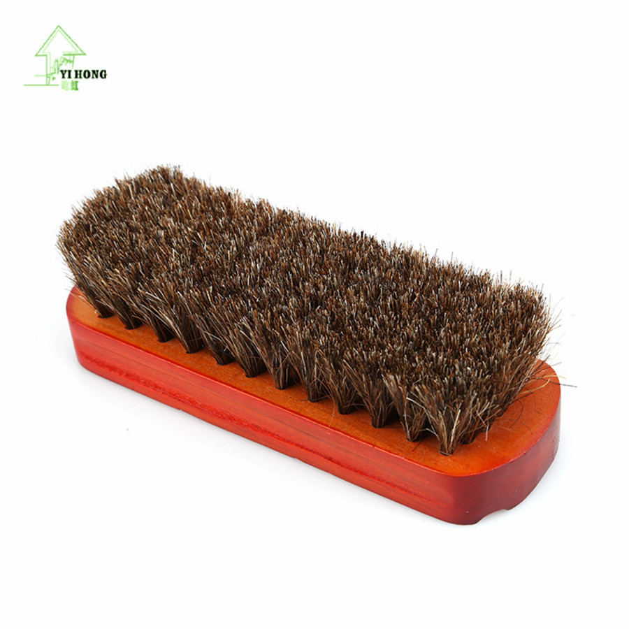 YIHONG Horsehair Shoe Brush Polish Natural Leather Real Horse Hair Soft Polishing Tool B ...