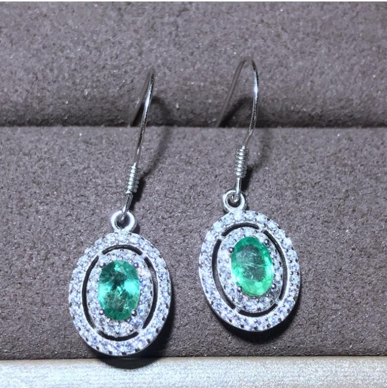 Natural emerald earring Free shipping Natural real emerald 925 sterling silverNatural emerald earring Free shipping Natural real emerald 925 sterling silver
