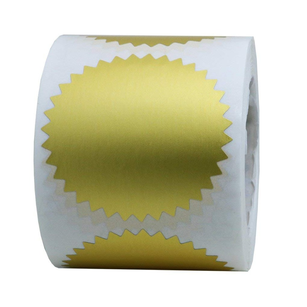 Gold Stickers Pegatinas Doradas Embosser Stamp Sealing Blank Certificate Paper Seal Self Adhesive Stickers For Invitations in Stationery Stickers from Office School Supplies