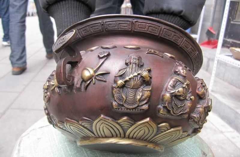 WBY Rossa Cinese Bronzo Buddismo Cinque Dio della ricchezza cornucopia bruciatore di incenso Censer