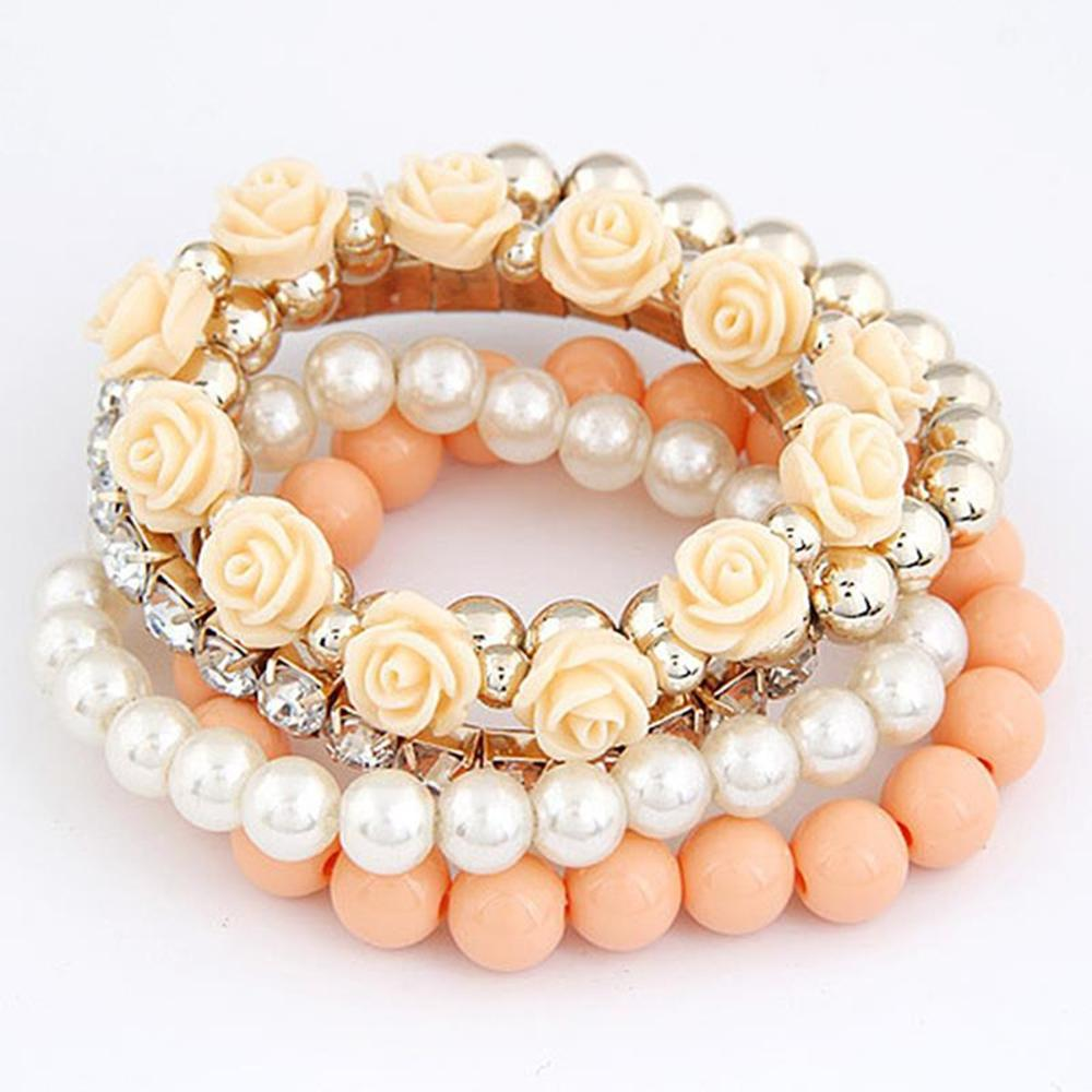 2017 Fashion Candy Color imitation pearl Rose Flower Multilayer Beads Stretch Charm Bracelet & Bangle For Women pulseras mujer