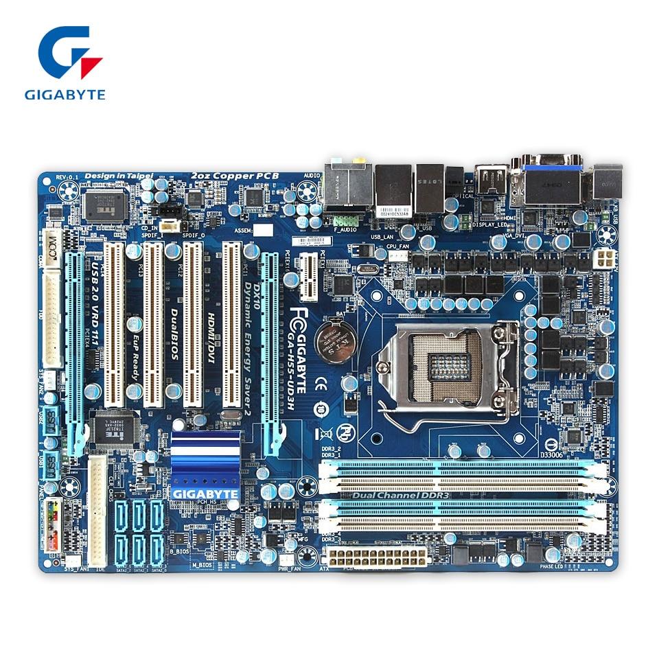 Gigabyte GA-H55-UD3H Original Used Desktop Motherboard H55-UD3H H55 LGA 1156 i3 i5 i7 DDR3 16G ATX gigabyte ga p67a ud3r b3 original desktop motherboard ddr3 lga1155 4 channels 32gb p67a ud3r b3 p67 motherboard free shipping