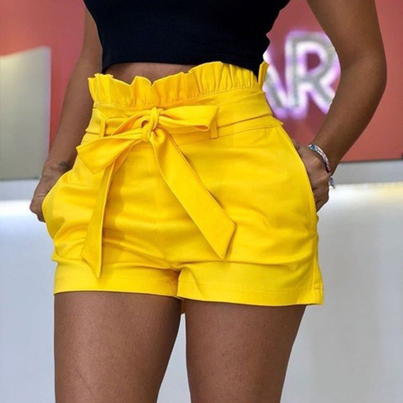 Plus Size S-5XL Women Summer Ruffles Shorts With Belt Casual Loose Pockets Wide-leg Shorts Beach Wear