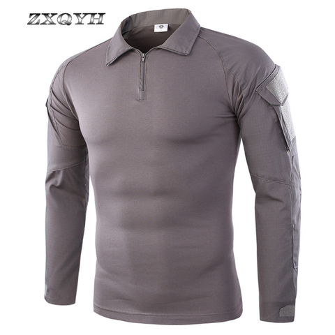 ZXQYH Men Combat Training Long Sleeve Tactical T-Shirts Army Camping Breathable T-shirts Military Tactical Uniform Tops T-shirts Multan