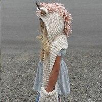 New Arrival Girls Crochet Unicorn Scarf Autumn Winter Girls Cartoon Tassel Hat Kids Knited Hooded Scarf D0447