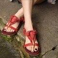 2017 artesanal de couro genuíno das sandálias das mulheres de personalidade do vintage saltos baixos casual flip flops mulheres chinelos 108516-6