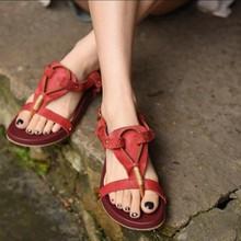 2017 genuine leather handmade women sandals personality vintage low heels casual flip flops women slippers 108516-6