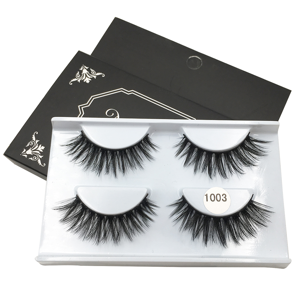<font><b>2</b></font> <font><b>Pairs</b></font> <font><b>Eyelashes</b></font> Wholesale Soft Volume Crisscross Mink Lashes Hand made Full Strip Lashes Makeup 3d Lashes ML1003 image