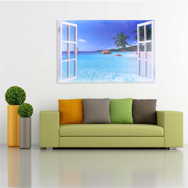 Window Wall Stickers Blue Ocean Beach Landscape Wall Sticker Decals Living Room Decor Vinyl