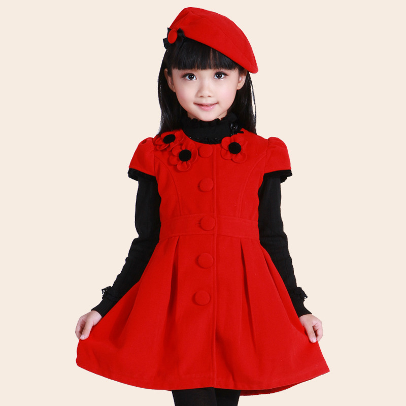 children woolen vest dress winter/Autumn formal dress 2015 kids's clothing girls dress big virgin princess party winter dress