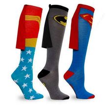 Unisex Super Hero Superman Batman Knee High With Cape Soccer Cosplay Socks