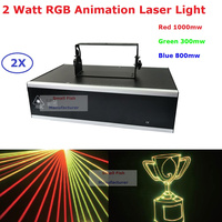 High Quality Stage Laser Lights 2 Watt RGB Full Color Animation Laser Light With DMX512 And 128 Kinds Of Patterns New Arrival