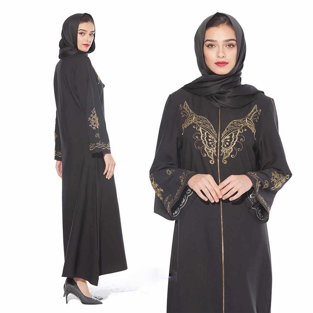 Bravetoshop Mybatua Abaya with Hijab Jilbab Islamic Clothing Maxi Muslim Butterfly Embroidered Dress Burqa Ramadan
