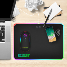 SUNROSE Game mouse pad RGB light mouse pad phantom color hard belt wireless charging function mouse pad belt glow