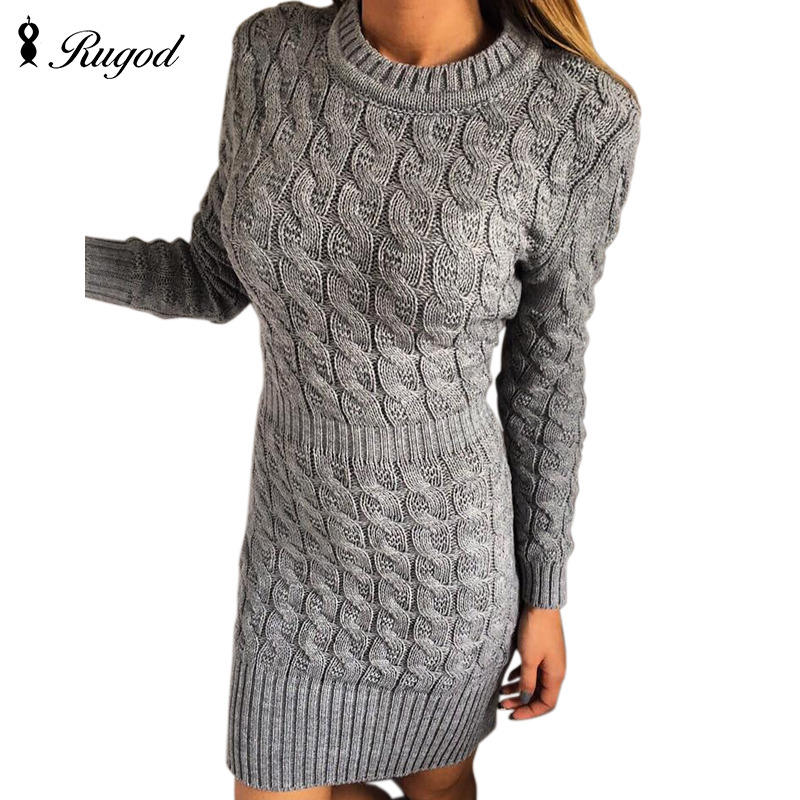 New Arrival Autumn Winter Knitted Dress Women O-neck Sexy Solid Party Dresses Long Sleeve Elegant Bodycon Sweater Dress Vestidos fashion 2018 women autumn winter sweater dresses slim turtleneck sexy bodycon solid color robe long knitted office ol dress 1089