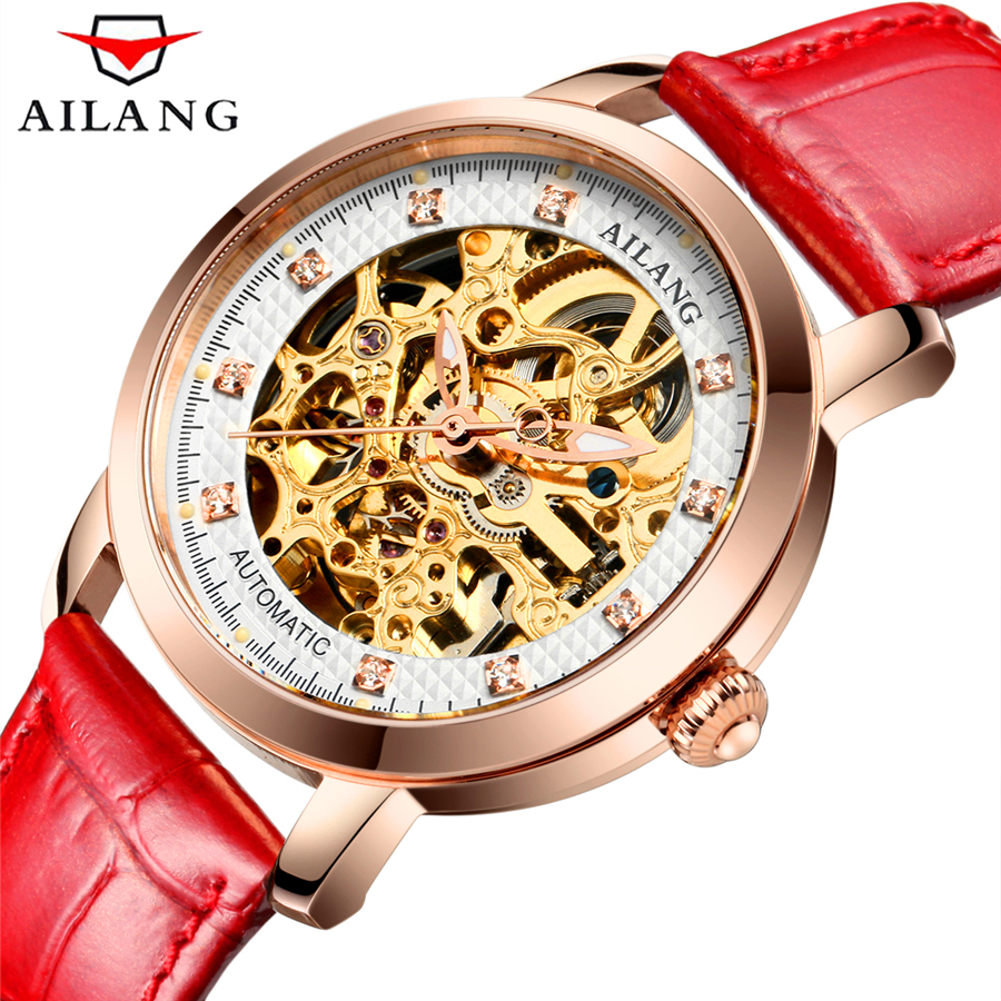 2017 AILANG Luxury Brand Mechanical Watch Women Genuine Leather Waterproof Sapphire Mirror Stainless Steel Automatic Watches 2018 ailang sapphire automatic mechanical watch mens top brand luxury waterproof brown genuine leather watch relogio masculine