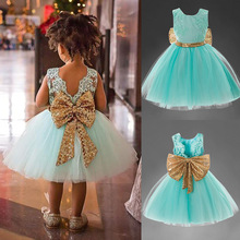Toddler Girl Dresses 1-6Y Princess Baby Golden Bowknot Evening Party Prom Grown Tutu Halloween Christmas 3rd Birthday Kids 2018 baby unicorn toddler baby girl princess dress kids summer rainbow party dresses 1 6y