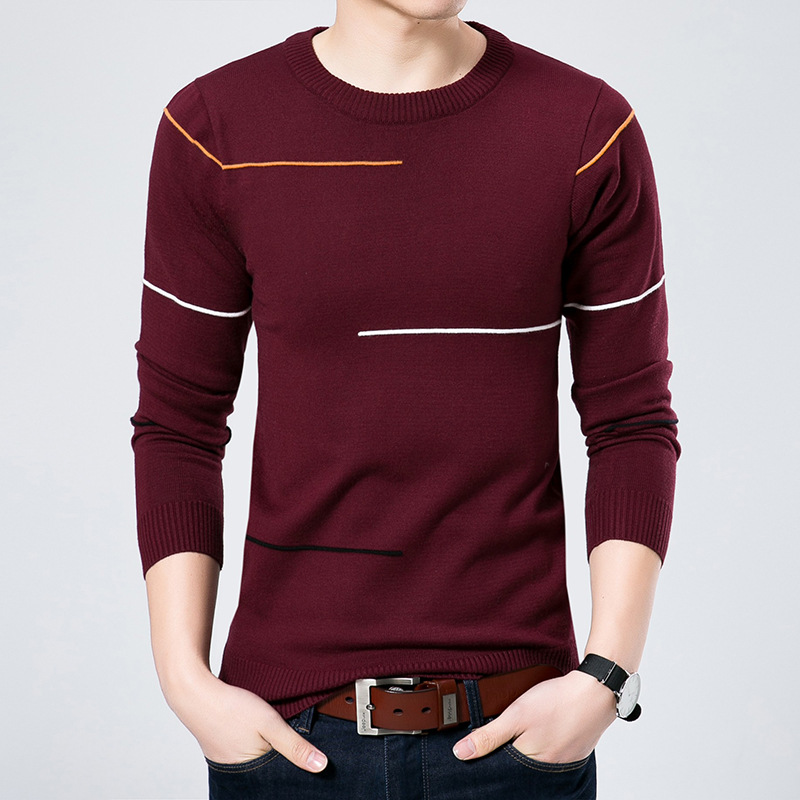 Lines New 2020   Jacquard Round Neck Long Sleeve Men Loose Knitting Render Unlined Upper Garment Business And Leisure Travelers