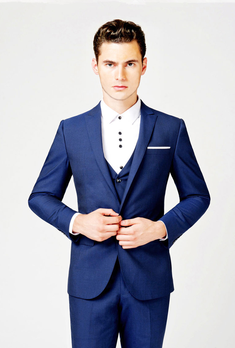 Jackets Pants Vest Tie Royal Blue Men Suits Slim Custom Fit Tuxedo Brand Fashion Bridegroom Business Dress Wedding Blazer In From S