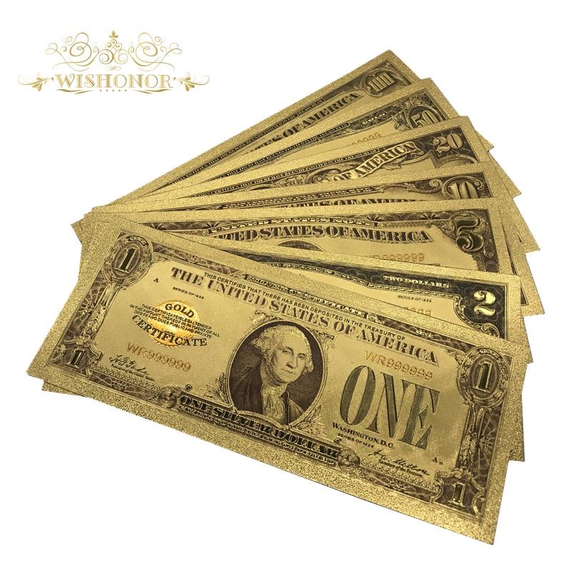 7 adet/grup 1928 Yıl Amerikan Renk Altın Banknot Set USD 1 2 5 10 20 50 100 Dolar Banknotlar Sahte kağıt Para Hatıra Hediyeler