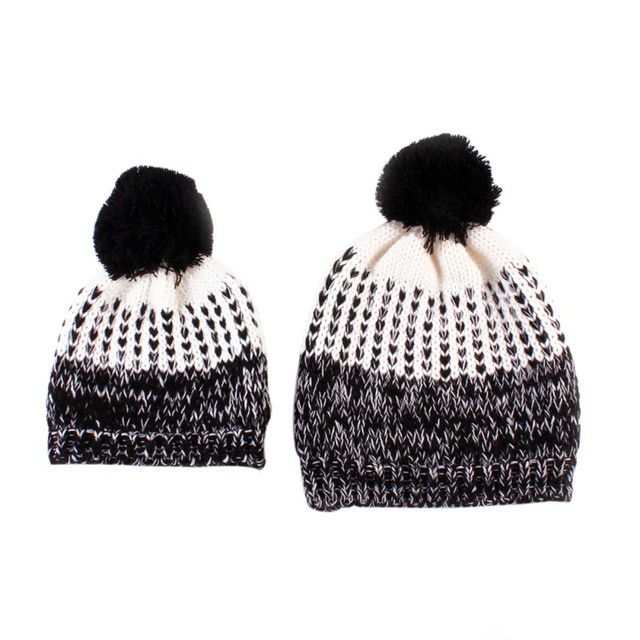 8f3b6ba32 Lovely Cute Europe Style Mother and Baby Caps Winter Warm Mother+Baby Knit  Bobble Ball 2 Pcs Hats-in Hats & Caps from Mother & Kids on Aliexpress.com  ...