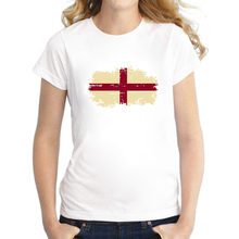 Patriotic Fans Cheer Women T shirt England National Flag Cotton Nostalgic England Flag T-shirt for Women Summer Clothing
