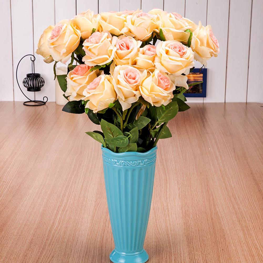 10 шт./лот 50 см белый/красная роза Пластик искусственный цветок отделением для дома Гостиная Украшение стола, Свадебная вечеринка цветы