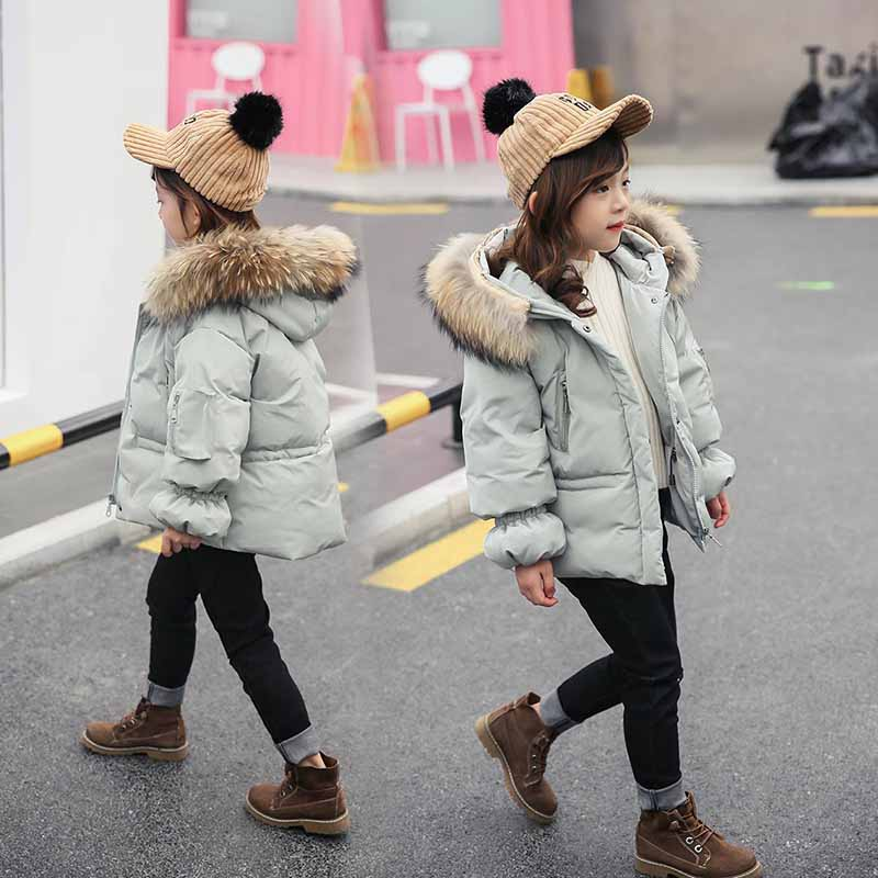 HSSCZL Girls Duck Down Jackets 2018 Brand Winter Thicken Children Girl Down Coat Outerwear Overcoat Natural Fur Collar 4-10Age 2018 turn down collar girls wool outerwear fluffy girl faux fur coat fur patchwork cool children overcoat big girls fur jackets