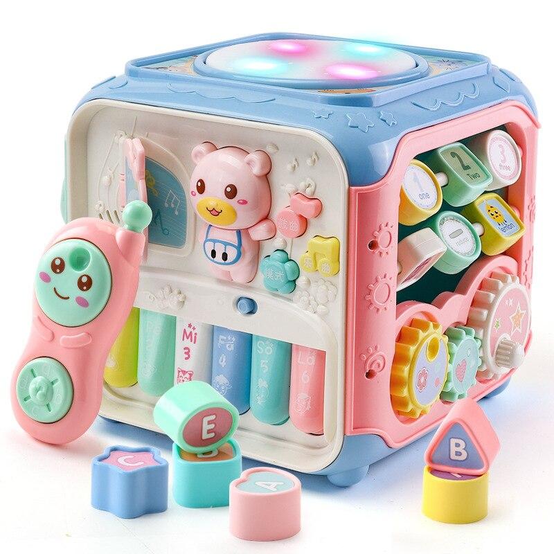 Multifonctionnel jouets musicaux enfant en bas âge bébé boîte musique activité Cube engrenage horloge blocs géométriques tri hexaèdre jouet éducatif