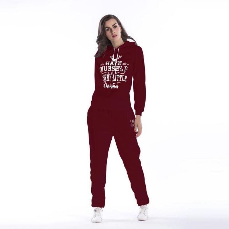 Two Piece Set 2018 Winter Fashion Slim Plus Velvet Christmas Letter Hooded Sweater Casual Elastic Waist Pants Suit Female