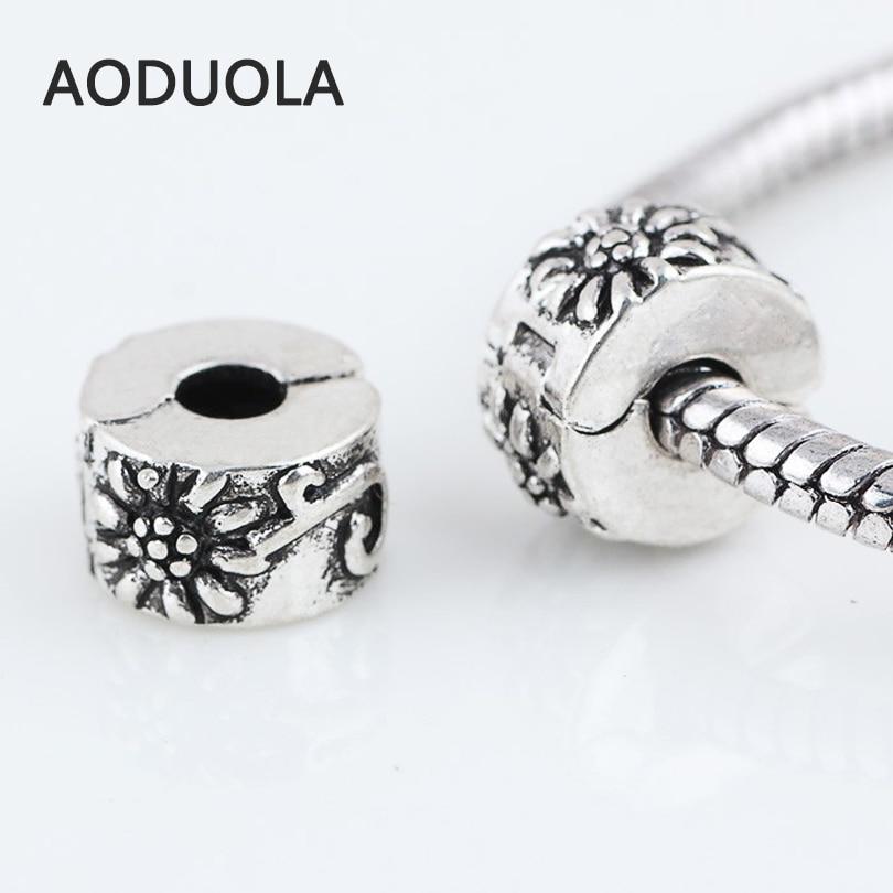 10 Stücke viel Silber Kupfer Stopper Perlen Blume Clip-verschluss runde DIY Europäischen...