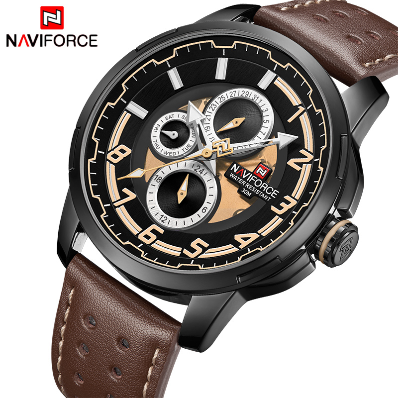 все цены на NAVIFORCE Men's Luxury Fashion Sport Watches Men Quartz Date Clock Man Leather Military Waterproof Wrist Watch Relogio Masculino