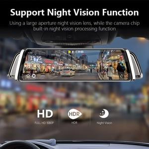 Image 4 - 10 Inch Touch Screen Stream Car DVR Rear View Mirror Dash Cam Full HD Car Camera 1080P Back Camera Dual Lens Video Recorder