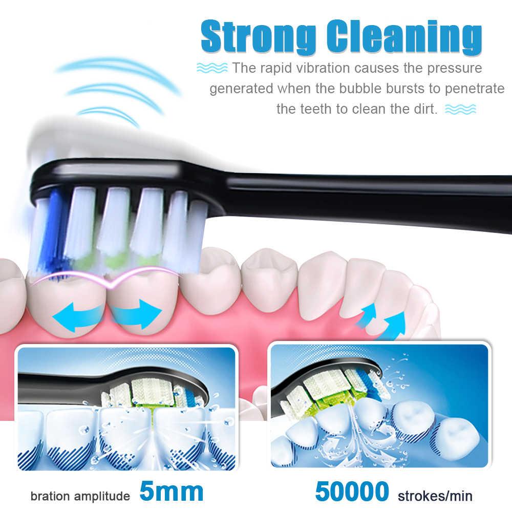 KOMERY nowa elektryczna szczoteczka do zębów wodoodporna IPX7 5 trybów 3 intensywności 50,000 uderzeń/min 4 szt. Wymiana DuPont najlepsza szczoteczka do zębów