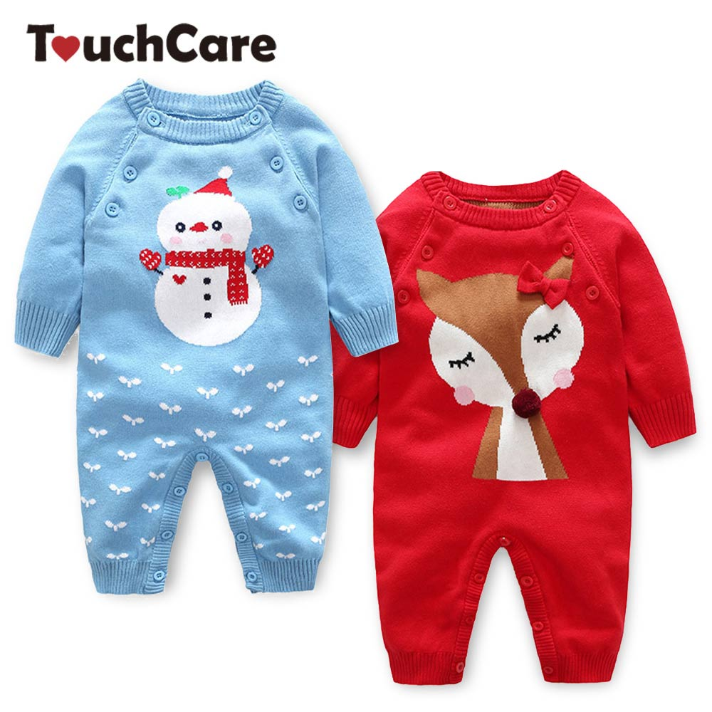 Touchcare Newborn Knitted Sweater Romper Baby Boys Girls Jumpsuit Infant Autumn Winter Overalls Christmas Snowman Coveralls cotton baby rompers set newborn clothes baby clothing boys girls cartoon jumpsuits long sleeve overalls coveralls autumn winter